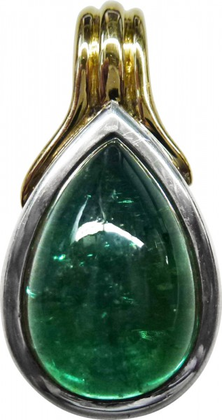 Exclusiver Anhänger in Silber Sterlingsilber 925/- teils Gelbgold 750/- grüner Turmalin Cabochon