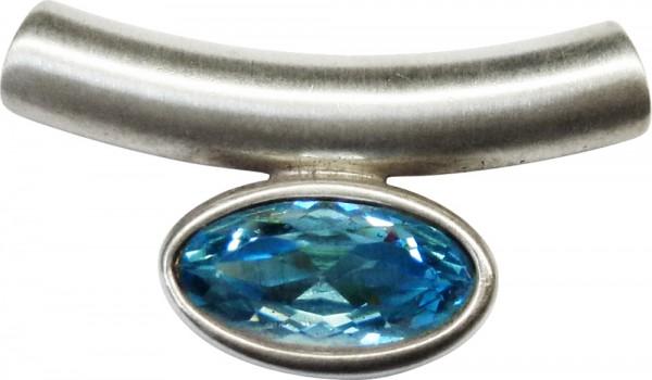 Modischer Röhrenanhänger in Silber Sterlingsilber 925/- mit einem großen Blautopas