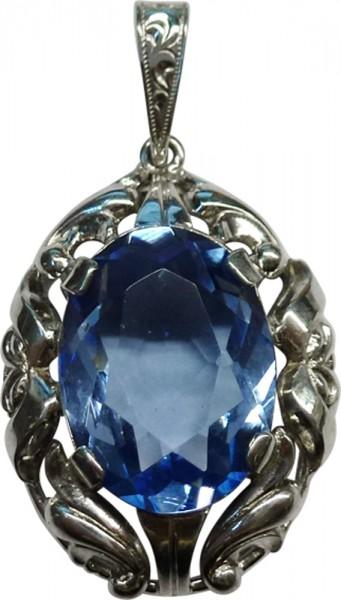 Anhaenger poliertes Silber 800/- blauem ovalen Zirkonia Grösse 16 mm lang und 12 mm breit Gesamtlänge 35 mm