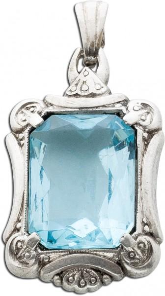 Anhänger Antik Blautopas Sterling Silber 925