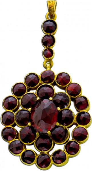 Antiker Anhänger um 1870 bömisch rotbraune Granat Edelsteine Silber 835 vergoldet