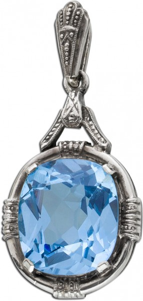 Antiker Anhänger Silber 835 Blautopas facettiert Antik im Art Deco Stil 20er Jahre