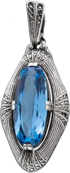 Anhänger Silber 835 Original FAHREN anthrazit Markasit synth. Blautopas Antik 30er Jahre Art Deco Sti