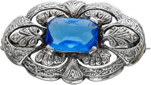 Antike azurblaue Quarz Brosche Anstecknadel Silber 835 um 1900 Trachtenschmuck Blattmotive