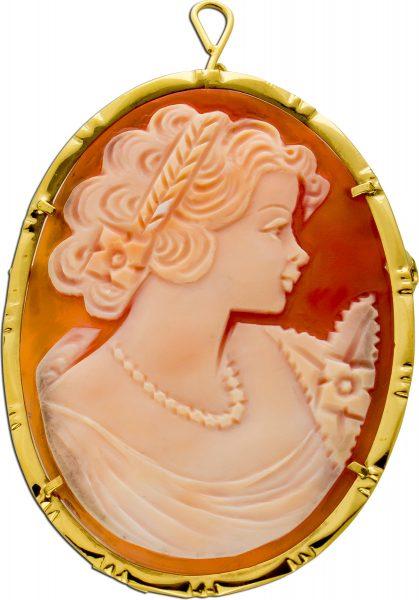 Antike Gemme Brosche Anhänger Silber 800 vergoldet Frauenkopf
