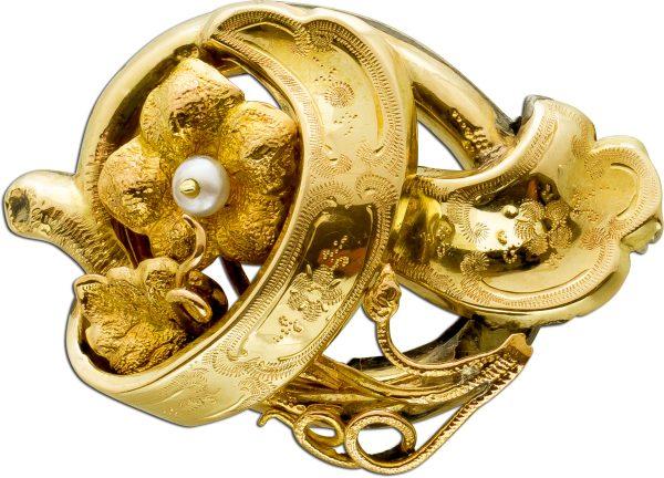 Antike Anhänger Brosche Gelbgold 585 Sterling Silber 925 Flussperle Um 1860 TOP Zustand