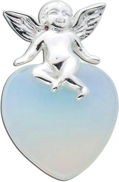 Weiß blauer Mondstein Herzanhänger Engel Silberanhänger Sterling Silber 925 synthetisch