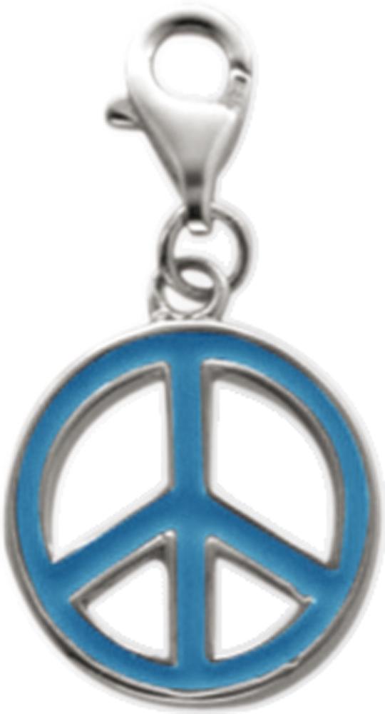 06c617ef7062 Charm-Anhänger Peace-Zeichen aus echtem 925 - Silber Sterlingsilber,  lackiert mit Karabinerverschluss, Durchmesser 14 mm im Saboo Look von  Abramowicz der ...