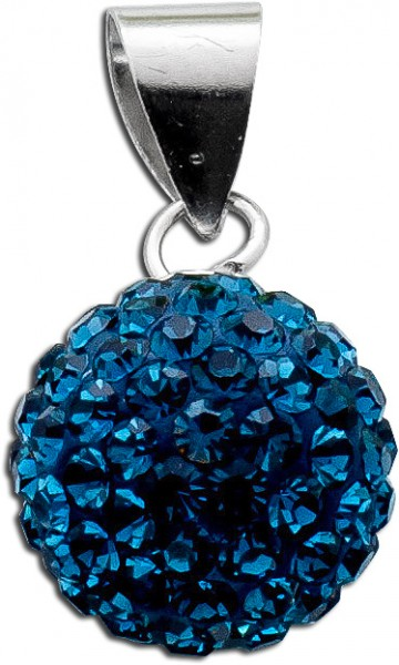 Anhänger Sterling Silber 925 montanblaue Kristalle Ø 10mm