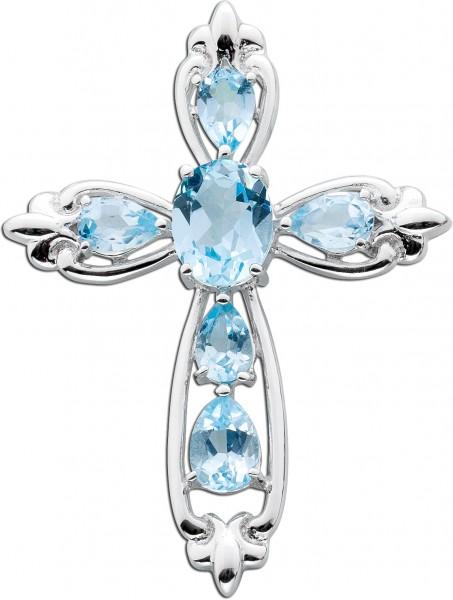 Blauer Kreuz Anhänger  Silber 925 Blaut...