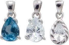 Anhängerset 3-teilig aus  echtem Silber Sterlingsilber 925/-mit weissen und blauen,  gefaßten Synth Zirkonia Die Maße der drei  Anhänger sind: 14x7mm( mit Öse). Die Stärke beträgt ca. 4mm. Sein Gewicht ist 0,8g. Nur bei Abramowicz, Ihrem Vertrauensjuwelie