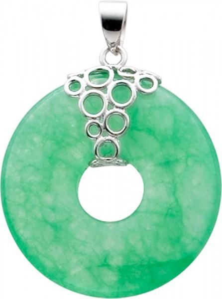 Modischer Anhänger in  echtem Silber Sterlingsilber 925/-, rhodiniert, mit echter wunderschöner grüner Jade. Der  Durchmesser des Anhängers ist 2,8cm, seine Länge 3,5cm, passend für alle Ketten bis zu einer Stärke von 4mm. Dazu passen perfekt die Ohrhänge