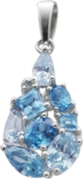 Anhänger in Silber Sterlingsilber 925/- mit hellblauen wasserblauen weißen Zirkonia