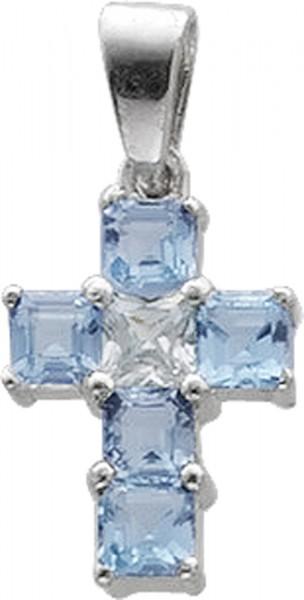 Kreuz Anhänger in Sterlingslber 925/-,  Blautopas und Zirkonia