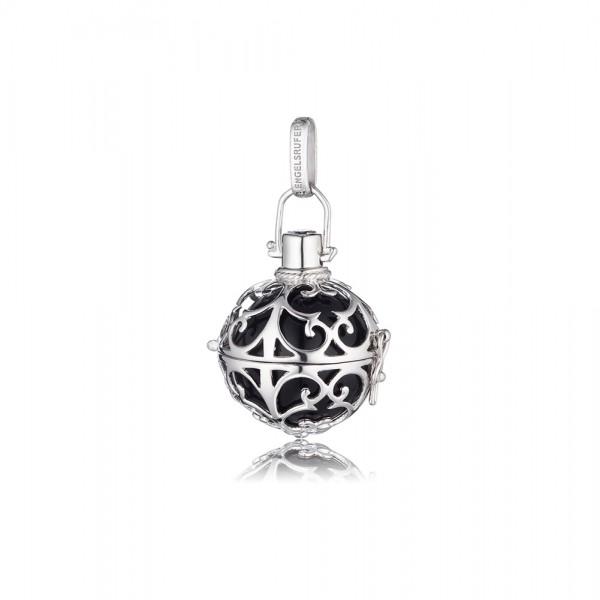 Engelsrufer ER-02-S hochglänzend poliertem rhodiniertem Silber Sterlingsilber 925/-, schwarze Klangkugel, ca.16 mm