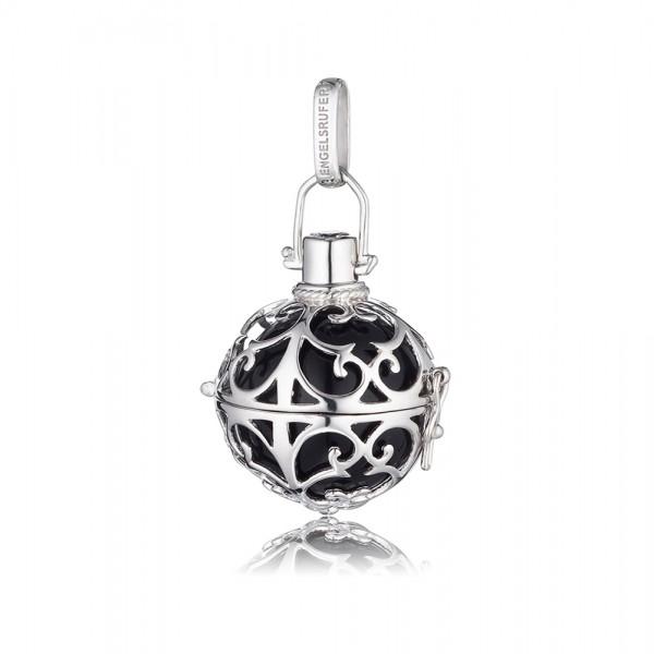Engelsrufer ER-02-M hochglänzend poliertem rhodiniertem Silber Sterlingsilber 925/-, schwarzer Klangkugel, ca.20mm