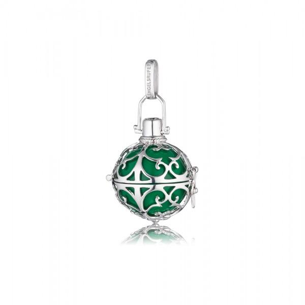 Engelsrufer ER-04-S poliertes SterlinSilber Sterlingsilber 925/-, rhodiniert grüne Klangkugel, Durchmesser ca.16mm