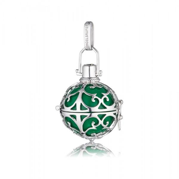 Engelsrufer ER-04-M hochglänzend poliertes rhodiniertes Silber Sterlingsilber 925/- grüne Klangkugel, ca.20m