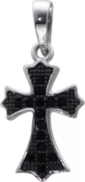 Anhänger in Silber Sterlingsilber 925/- mit 15 schwarzen Zirkonia, masse 16x11mm, lg 3,5mm, kreuz