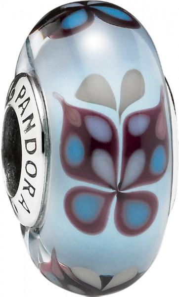 PANDORA 791622 Charm Bead Silber Sterlingsilber 925/- hellblaues Murano mit Schmetterlings Motiv