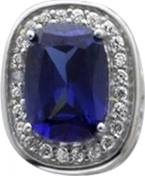 anhaenger in Silber Sterlingsilber 925 mit marineblauem zirk10mm mal 7mm und 14 weissenzirkonia lg 2mm