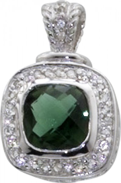 Mit einem grünen Quarz und weiß Topas, ein Anhänger in Silber Sterlingsilber 925/-
