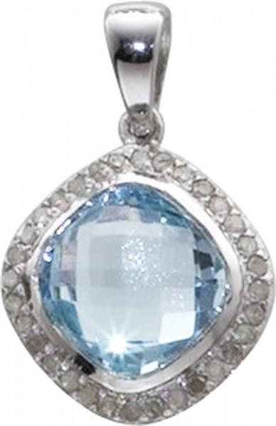 Anhänger Silber Sterlingsilber 925/- mit einem facettiertem Blautopas und mehreren Diamanten