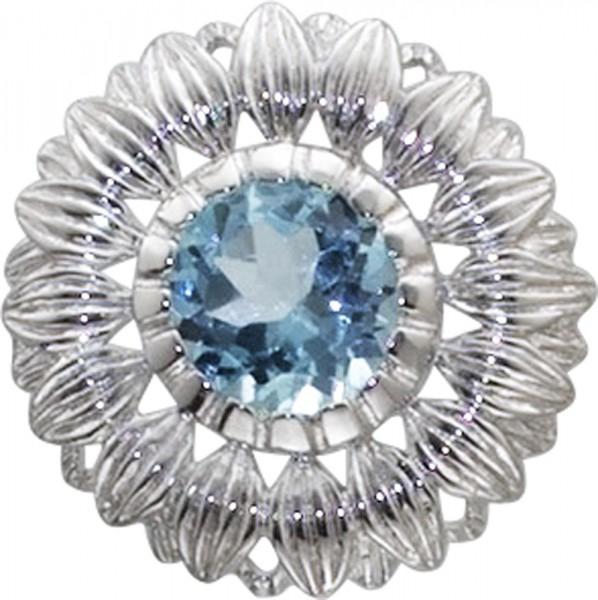 Aus Silber Sterlingsilber 925/- ein Anhänger, mit echtem Blautopas und einer ruthenierten Blüte.