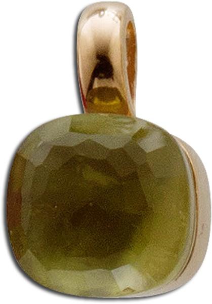 Anhänger in Silber Sterlingsilber 925 rosevergoldet mit Perlmutt und grünem Granat