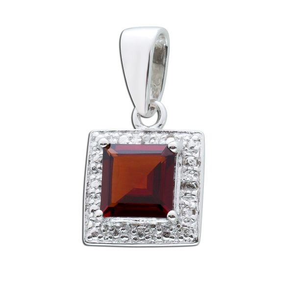 Roter Edelsteinanhänger Silber 925 roter Granat  weisser Topas