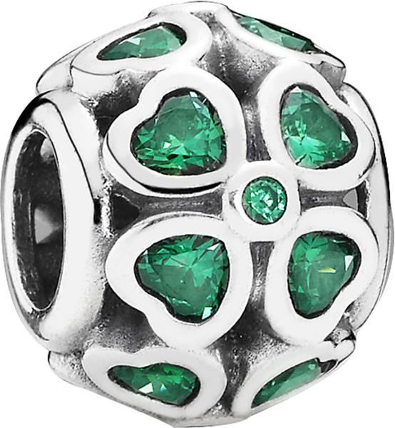 PANDORA Charm 791496CZN Glückskleeblätter grün Silber Sterlingsilber Zirkonia