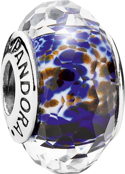 PANDORA Charm 791609 Schimmernder Ozean dunkelblau Silber Sterlingsilber Muranoglas