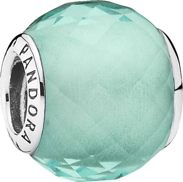 PANDORA Charm grün irisierende Petite Facetten 791499SGQ 925er Sterling Silber synthetischer Quarz