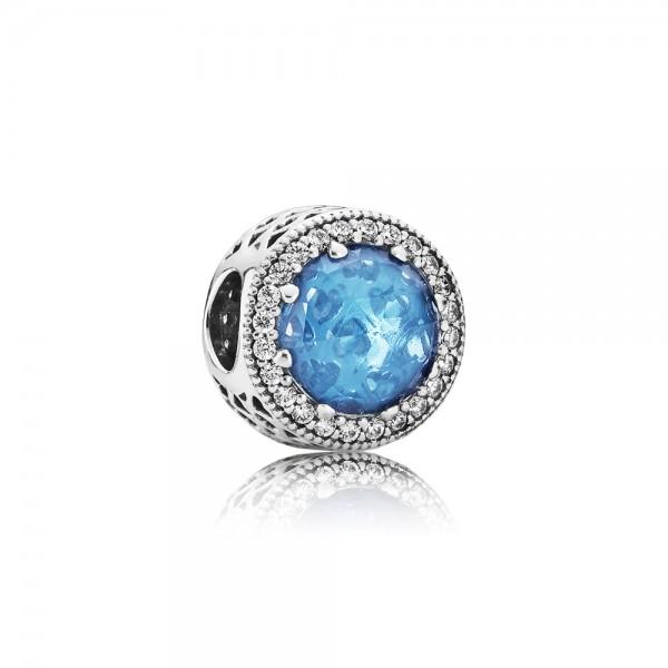 PANDORA Charm Himmelblauer Strahlenkranz der Herzen 791725NBS