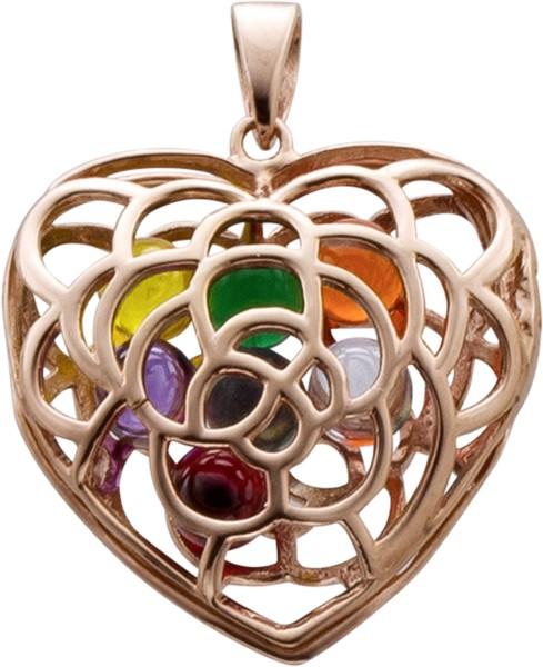Herz Anhänger in SterlingSilber 925 rose vergoldetmit farbigen Glaskugeln,Medaillon zum öffnen, 32x26mm, lg 5x3mm