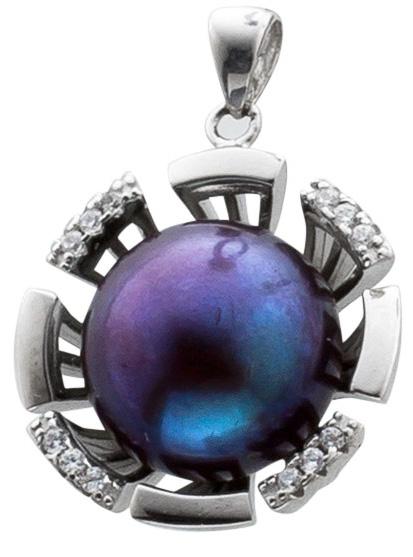 Perlenanhänger – Sterling Silber 925/- mit schwarzer Süßwasserzuchtperle und Zirkonia