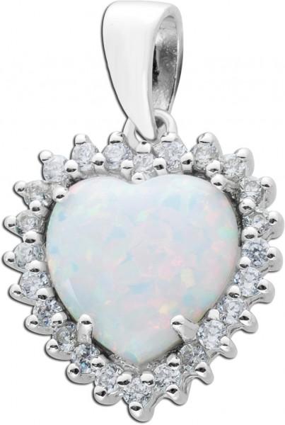 Herzanhänger Opal Silber 925 synth. Zir...