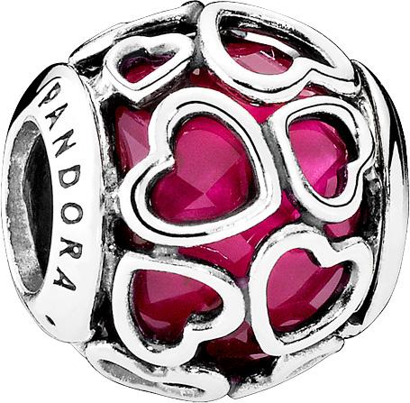 PANDORA Charms 792036NCC – Von Liebe umhüllt – Silber Sterling 925 kirschroter Kristall
