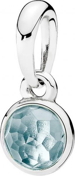 PANDORA Kettenanhänger 390396NAB Geburtsstein März Tröpfchen aquablauer Kristall Silber 925