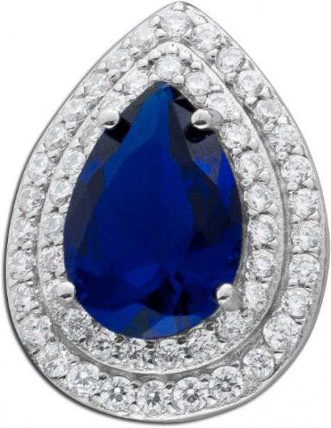 Safirfarbige Zirkonia Silberanhänger Silber 925 blauer Saphir Safir synthetisch