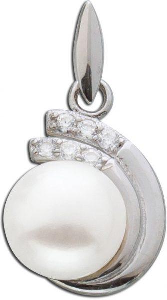 Anhänger Perle Silber 925 Kettenanhänger Süßwasserzuchtperle Zirkonia