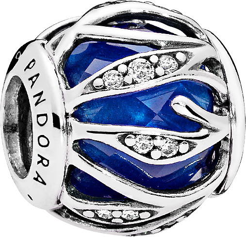 PANDORA Charms 791969NCB Blätter Glanz royalblau  Sterling Silber 925