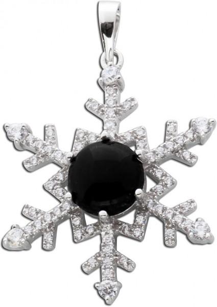 Schwarzer Onyx Anhänger weiße Zirkonia Schneeflocke Silber 925