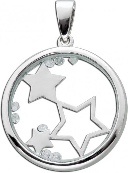 Medaillon Anhänger Silber 925 Sterne Glas Stern Kristalle