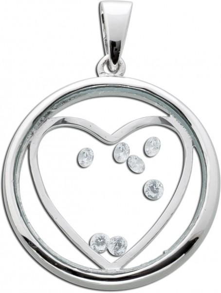 Medaillon Anhänger Herz Silber 925 Glas Kristalle