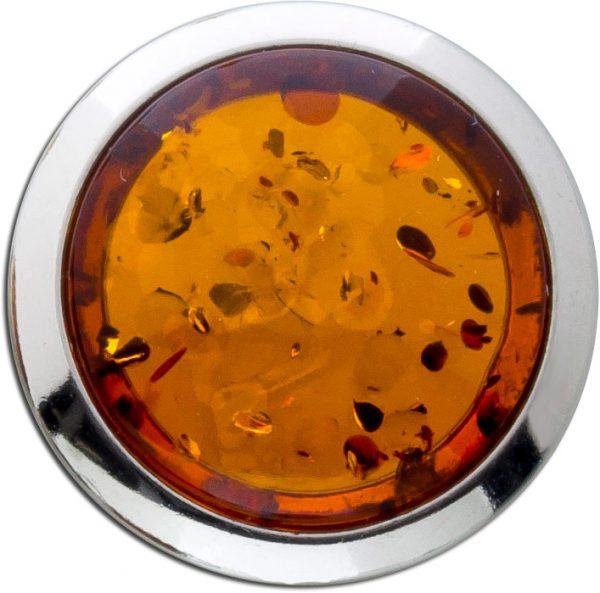 Bernstein Anhänger gross braun Orange Cognac Sterling Silber 925 Natur