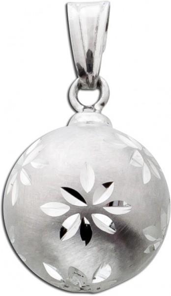 Kugel Anhänger Blume Silber 925 Kettena...