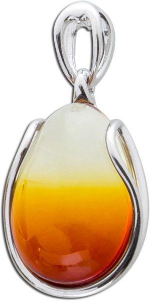 Bernstein Kettenanhänger cognacfarbener Edelsteinanhänger Silberanhänger 925 leichter Farbverlauf oval
