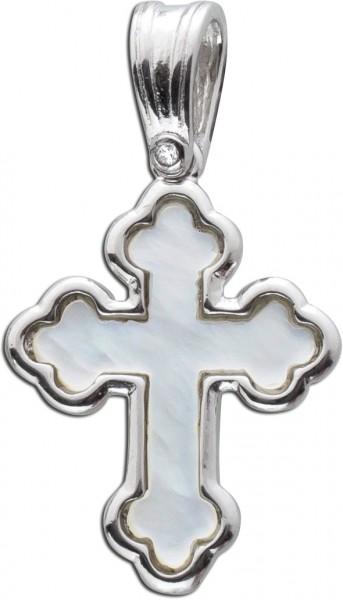 Kreuz Anhänger Silber 925 Edelstein Per...
