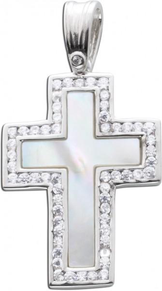 Kreuz Anhänger Silber 925 Edelstein wei...